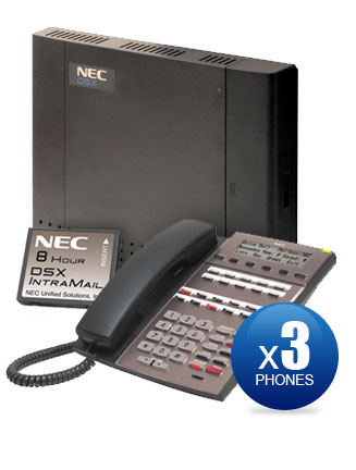 NEC DSX-40 Kit with (3) 22-Key Phones & Intramail Voicemail